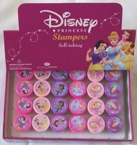24 Pieces Disney Princess Self Inking Stamper Pencil Topper Party Favor Supply
