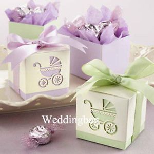 50 Purple or Green Baby Shower Laser Cut Carriage Candy Boxes Favor Box Sweet