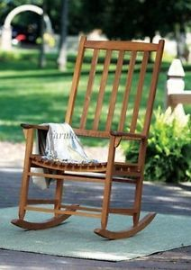 Merry Garden Solid Hardwood Oversized Classic Wooden Rocking Chair Auth Dealer