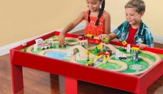 Kids Wooden Table Train Set Boys Girls Thomas Activity Play Playsets Gift Build
