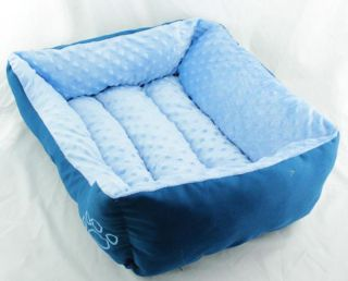 Thicken Sofa Spring Square Warm Cotton Dog Cat Pet Bed Sofa Bed Blue PP GW49
