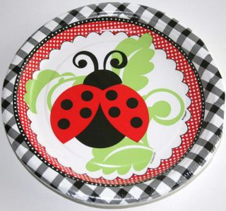 Ladybug RED1ST Birthday Baby Shower 8 Small Dessert Cake Plates Party Supplies