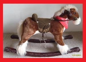 Costco Kids Plush Brown Rocking Horse Toy Stirrups Wood Rockers Phoenix Only