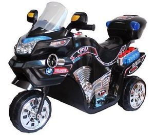 Childs Kids Battery Powered Three Wheeled Motorcycle Black Toy Plastic Bike New