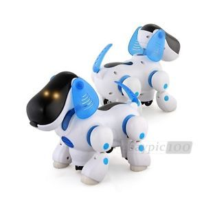 Blue Robotic Electronic Walking Pet Dog Puppy Kids Toy with Music Light