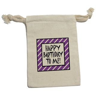 Happy Birthday to Me Stripes Purple Funny Muslin Cotton Gift Party Favor Bags