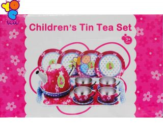 Tin Tea Set 18 Pieces Pink Blue Kids Pretend Play Kitchen Toys Cute 16 Items