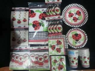 Ladybug Red 1st Birthday Baby Shower Party Supplies Party Set Bundle