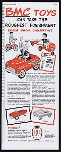 1953 BMC Bike Motor Club Kids Toy Pedal Car Tractor Cart Dump Truck Print Ad