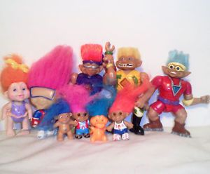 "9 Troll Dolls Lot Action Figures Baby Kids Dinosaur Top Collectible Toys 3"" 6"""