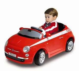 Childrens Electric Power Fiat Red Race Car Kids Motorized Blk Wheels Toy Ride On