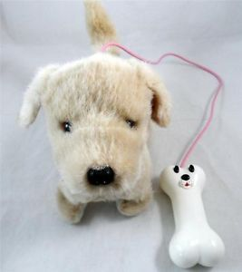 Puppy Dog with Bone Remote Control Kids Toy Plush Stuffed Animal Used