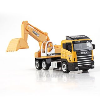 Yellow Excavator Car Construction Truck Children Toy Gift
