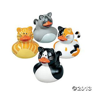 12 Kitty Cat Rubber Ducks Tabby Calico Black White Party Favors Kids Bath Toys