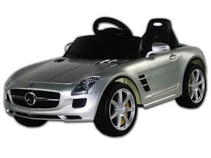 Silver Mercedes Benz SLS Ride on Remote Control Power Kids Riding Toy Car Wheels