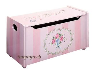 Kids Girl Pink Flower Bouquet Toy Chest Storage Box New