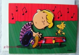 Snoopy Peanuts Gang 3 D Glitter Christmas Card Schroeder Playing Piano