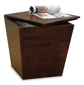 Wood Storage Cube End Table Home Apartment Furniture Modern Contemporary Accent