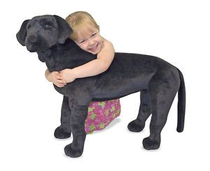 New Melissa Doug Large Plush Black Labrador Dog Soft Stuffed Animal Kid Toy