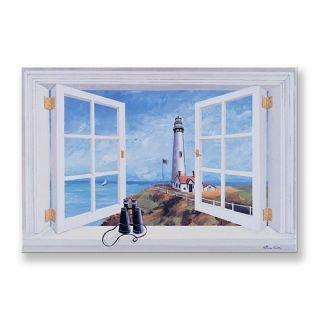Stupell Industries Pigeon Point Lighthouse Wooden Faux Window Scene