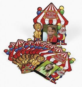 12 Circus Carnival Photo Cards Kids Birthday Party Favors Toys Treats Gifts