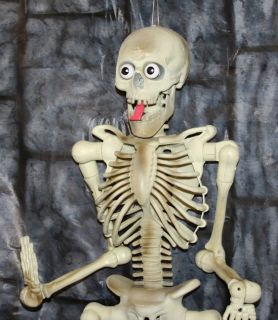 Animated Pop Out Eyes and Tongue Gemmy Skeleton Hanging Halloween Prop