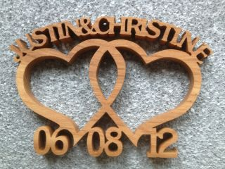 Wooden Entwined Hearts Custom Made Wedding Anniversary Gift with Two Names