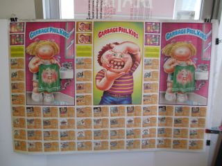 Complete Uncut Sheet of Garbage Pail Kids 5th Series Trading Cards Topps 1986