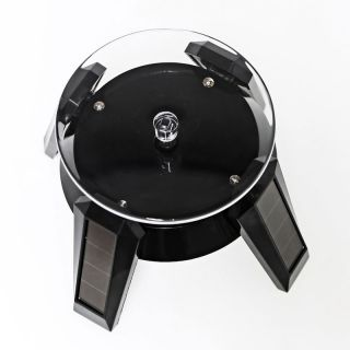 Solar Powered Jewelry Phone Watch Rotating Display Stand Turn Table Plate Black