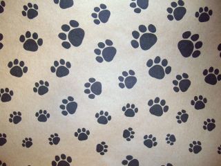 Dog Cat Paw Print Gift Wrap Paper Decoupage Brown Bag Paper w Black Paw Print
