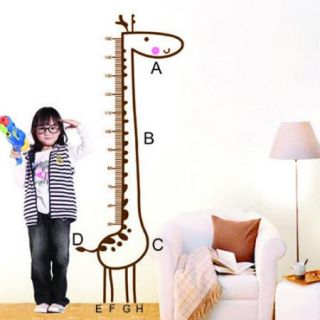 Giraffe Animal Height Chart Measure Wall Sticker Nursery Kids Decals Decor