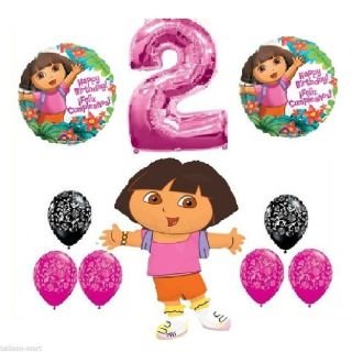 Dora The Explorer 2nd Birthday Party Supplies Damask Balloons Mylar Kit Second