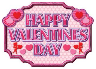 Happy Valentines Day Pink Red Sign Party Decoration