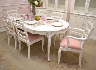 Shabby Cottage Chic Ladder Back Dining Chairs White Pink Linen French Style 6
