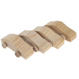 4pcs Kids DIY Paint Draw Wooden Wood Cars w Wheels Creative Children's Toy