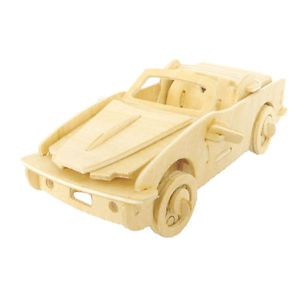 Kids 3D Woodcraft Car Auto Vehicle Model Assemble Toy