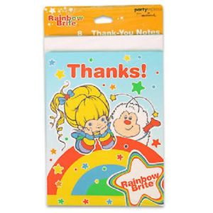 8 Rainbow Brite Thank You Note Cards Birthday Party Supplies
