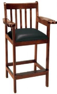 Spectator Chair Bar Stool for Billiard Pool Table Room Antique Walnut New