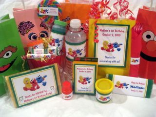 Sesame Street Baby Beginning Birthday PDF CD w Invitation Favor Water Candy Gum