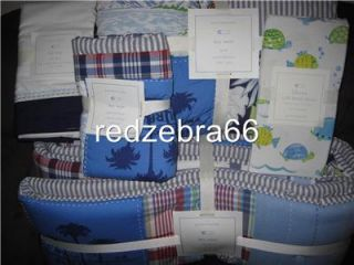 Pottery Barn Kids Boy Blue Key West Crib Bumper Quilt Sheet Skirt Sham Set 5 PC