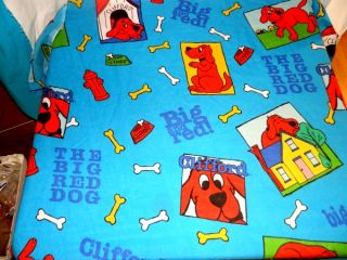 RARE 2001 Clifford The Big Red Dog Twin Flat Bed Sheet Material Fabric