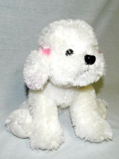 "RARE Russ Berrie 10"" Plush Bichon Frise Puppy Dog Girl Muffin Pink Bows Collar"
