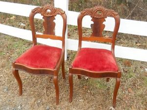Pair Antique Hand Carved Civil War Era Chairs 2nd Half 1800s Virginia