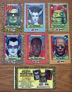 1992 Universal Monsters Trading Card Treats Set of 6