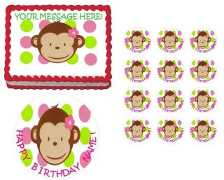 Mod Monkey First Birthday Baby Shower Edible Cake Topper Image All Sizes