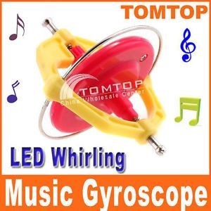 Magic Music Gyroscope Toy Gyro with LED Whirling UFO for Kids Gifts Red New
