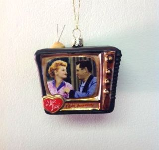 "Kurt Adler 3 5"" I Love Lucy 60th Anniversary TV Glass Christmas Ornament LU4111"