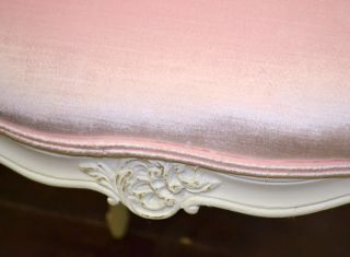 Shabby Cottage Chic Pink Velvet Single Petite Chair French Vintage Style White