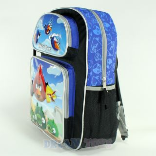 "Rovio Angry Birds Scene Blue 16"" Large Backpack Book Bag School Boys Girls Kids"