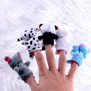 10x Plush Animal Finger Puppets Baby Cartoon Dolls Boy Girl Party Gift